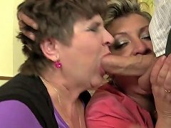 Granny And Moms Sharing Lucky Young Cock